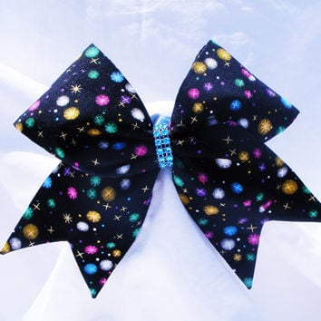 Cheer bow- all fabri sewn Black with multi colored spots,Cheerleading bow-Cheerleader bow- dance bow- softball bow- cheerbow