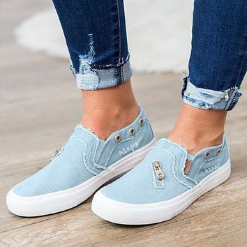 Large size fashion women canvas denim zipper one pedal flat casual shoes lazy shoes
