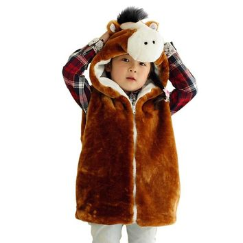 DOUBCHOW Unisex Children's Cartoon Horse Pattern Winter Hooded Vest Coat Kids Girls Boys Plush Costume Outwear Vest 2017 Fashion