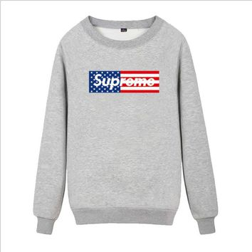 Supreme Round collar female loose couple costume Sweater Flage Grey