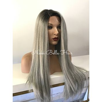 Silver Ombre' Straight  Human Hair Blend Multi Parting Lace Front Wig - Sera