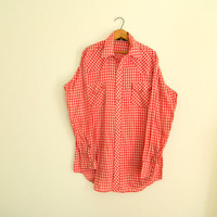 Vintage red gingham button down mens shirt / Western wear long sleeve rodeo shirt / Plaid folk style / size extra large, extra tall