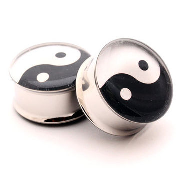 Yin Yang Picture Plugs Style 1 gauges - 00g, 1/2, 9/16, 5/8, 3/4, 7/8, 1 inch