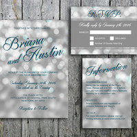Winter Wedding Invitation with Bokeh Lights - Invitation, RSVP and Guest Information Card for print