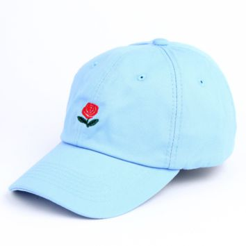 Summer Unisex The Hundreds Rose Embroidery Outdoor Baseball Cap- Sky Blue