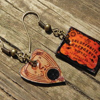 Mini Vintage Ouija Board V11 Dangle Earrings Wiccan Pagan Goth
