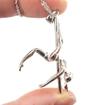 3D Pole Dancer Girl Leg Hang Aerial Dance Themed Necklace in Silver   DOTOLY