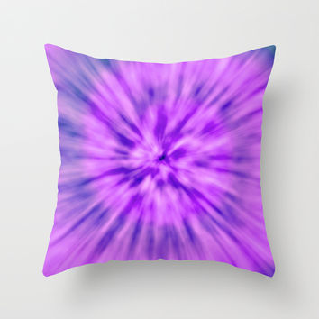 PURPLE TIE DYE Throw Pillow by Nika | Society6