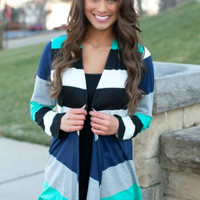 Casual Color Block Asymmetrical Cardigan