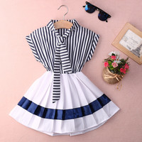 Retail 2016 Summer Style Baby Infant Girl Navy Striped cotton dress for Girl Kids clothes