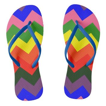 rainbow chevron flip flops sandals shoes