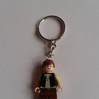 Star Wars Han Solo minifigure keychain keyring made with LEGO® bricks