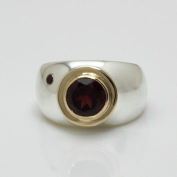 Garnet ring, silver gold ring, big wide statement ring, red January birthstone jewelry