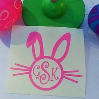 Bunny monogram, Bunny decal, Easter bucket decal, Preppy monogram, Decal for cup, Gift for girl, Gift for Boy, Easter gift