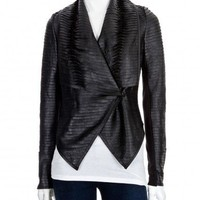 Scoop NYC | SCOOP :: Rolled Stripe Leather Jacket :: New Arrivals - WOMEN
