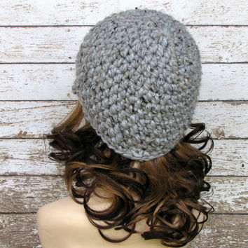 Crocheted Women's Hat, Gray Ladies Hat, Newsboy Hat, Visor Beanie, Wool Blend Adult Winter Hat
