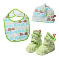Zutano Unisex-Baby Newborn Elephants Bib, Hat And Bootie Set, Multi, 12 Months
