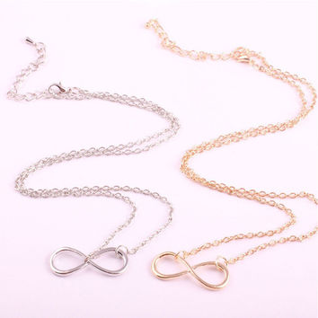 Couple Alloy Chain Gold Simple Design Vintage Silver Necklace = 4831056516