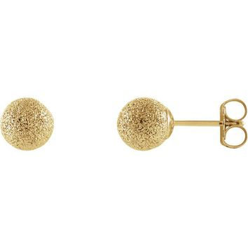 14k Yellow Gold 6mm Round Stardust Ball Earrings