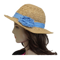 Blue touch medium brim straw hat