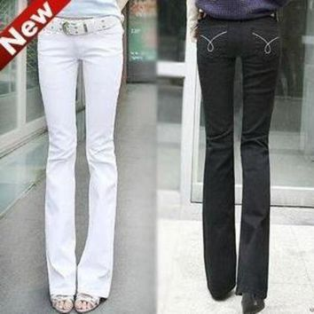ONETOW New Designer Brand Fashion Women White Slim Boot Cut Jeans women Skinny flare pants je