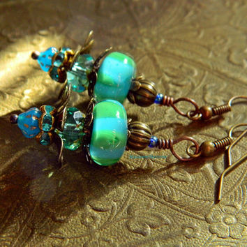 Blue Green Bohemian Lampwork earrings Boho Flower dangles Boho Wedding jewelry Blue Green Glass earrings Gypsy Hippie Artisan Jewelry