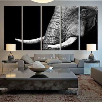 Canvas Art Print - Wild Old Elephant Face Wall Art Canvas Print, Ivory Canvas Print, Large Wild Elephant Canvas Print, For Great Wall Decor - MC71