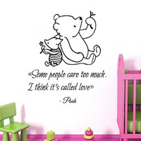 Wall Decals Vinyl Decal Sticker Mural Interior Design Piglet Quote Winnie the Pooh Some People Care Too Mush I Think It's Called Love Kids Nursery Baby Room Boy Girl Bedding Decor