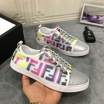 Fendi Fluorescent lace-up casual shoes