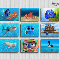 finding dory print set of 9 nursery nautical set disney print set pixar art disney gifts