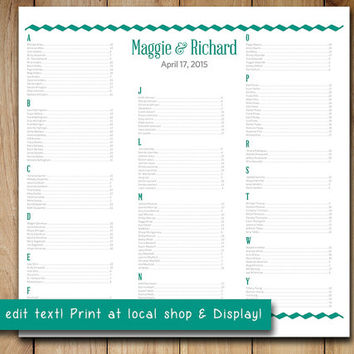 "Wedding Seating Chart Template | Typography Wave Teal Green Silver Gray Microsoft Word Template | Editable Text | 22"" x 22"" Wedding Download"