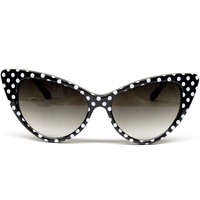 Cat Eye Vintage Retro Polka Dots Sunglasses Womens Wm501 (black / white, uv 400)