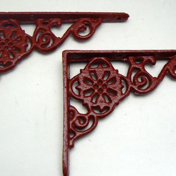 Wall Bracket Cast Iron Shelf Ornate Brace Heritage Colonial Red Decorative Brackets 1 Pair (2 individual brackets)