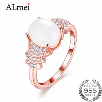 Almei 2.3ct Created Nephrite Jade Wedding Ring Silver 925 Rose Gold Plated Genuine Fine Jewelry for Women with Box 40% FJ033