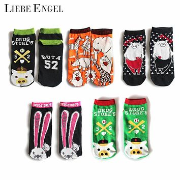 LIEBE ENGEL 2017 New Funny Pig Pattern Socks Women Casual Cotton Kawaii Colorful Animal Low Cut Ankle Short Socks for Female
