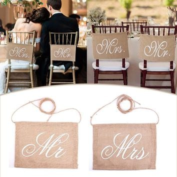 Garland Banner Mr Mrs/Bride Groom Photo Props Chair Signs Photo Booth Wedding Party Decoration 1Pair #87855