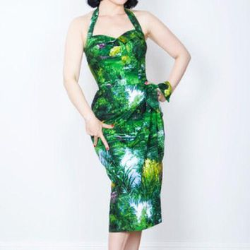 Sarong Landscape Pinup Halter Dress XS (ONLY 2 Left!)