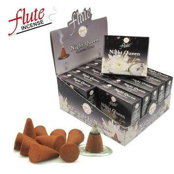 FLUTE 10 Cones/Pack Night Queen Aroma Spice Incense Cones Hand Rolled from Indian Light Fragrance cone Incense For Meditation