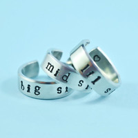 big sis/mid sis/ lil sis  -  Hand Stamped Rings Set, Newsprint Font, Shiny Aluminum, Forever Love, Friendship, BFF, V2