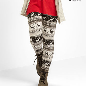 Aeropostale  Fair Isle Reindeer Leggings - Black, X-Small