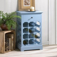 Somerset Blue Wooden 12 Bottle Wine Rack w/ Pullout Drawer