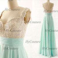 Sky Blue Prom Dresses, Straps Long Chiffon Lace Prom Gown, Straps Lace Chiffon Ice Blue Formal Dresses, Floor Length Wedding Party Gown