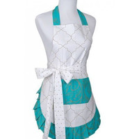 Women's Original Teal Moroccan Metallic Flirty Apron