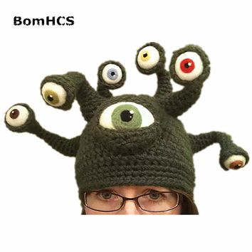 BomHCS Novelty Octopus Parasitic Beast Beanie Handmade Crochet Hat Men's Winter Warm Cap Party Gift