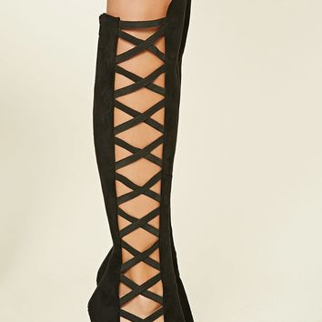 Faux Suede Knee-High Stilettos