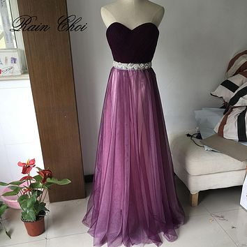 Tulle Prom Dresses 2017 A Line Long Formal Evening Dress Sleeveless Evening Party Gowns