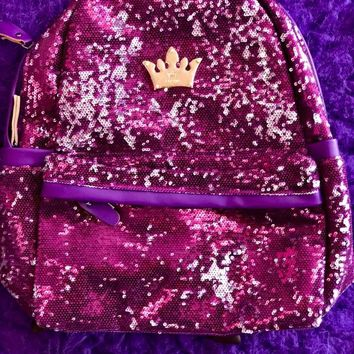 Princess purple sequin backpack