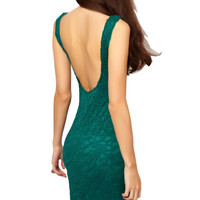 Floral Lace Sleeveless Backless Bodycon Dress