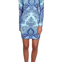 Light Blue Body-Con Printed Long Sleeves Dress