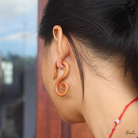 "Tribal Fake Gauge Wood Earring, Faux Gauge ""Sarva"" Fake Taper Earrings, Bali Tribal Handmade Wooden Earring"